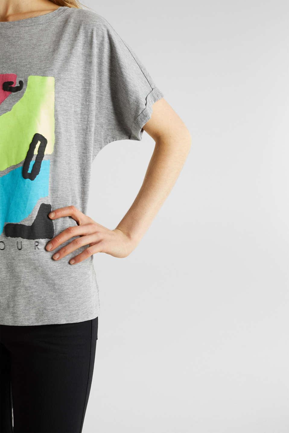 Slub T-shirt with geometric print, MEDIUM GREY 5, detail image number 2