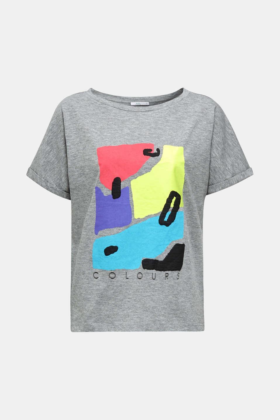 Slub T-shirt with geometric print, MEDIUM GREY 5, detail image number 6
