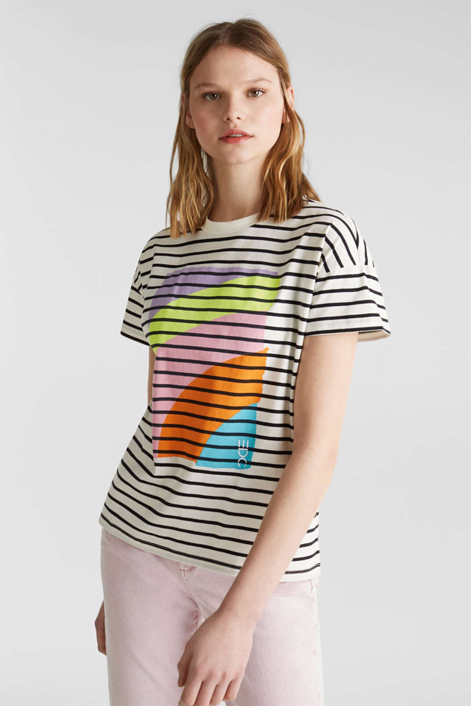 edc - Striped top with a print, 100% cotton