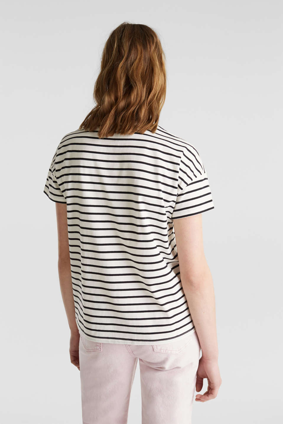 Striped top with a print, 100% cotton, OFF WHITE, detail image number 3