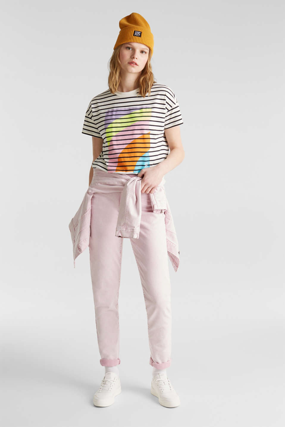 Striped top with a print, 100% cotton, OFF WHITE, detail image number 1