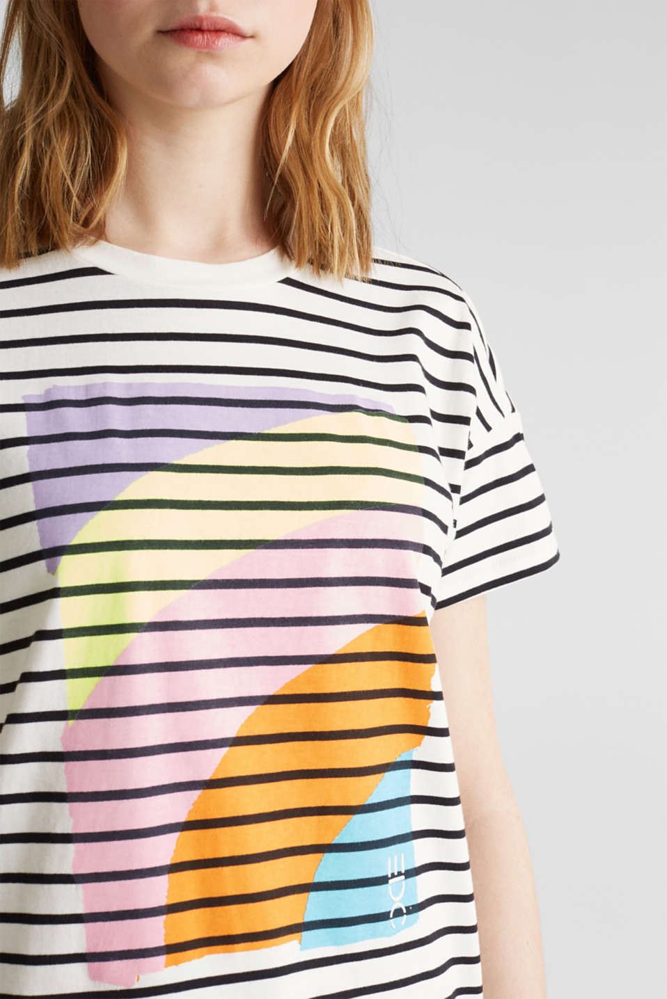 Striped top with a print, 100% cotton, OFF WHITE, detail image number 2