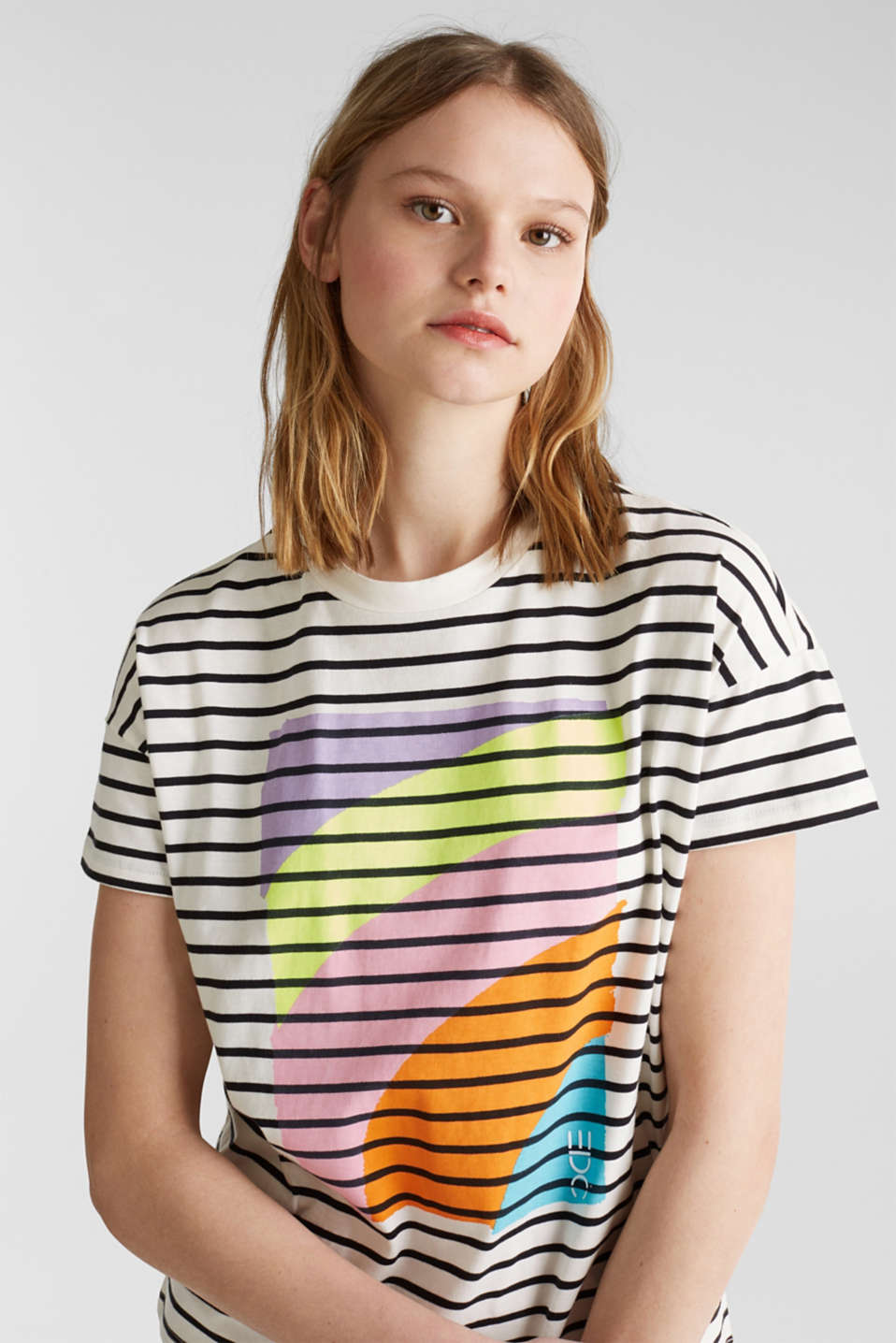 Striped top with a print, 100% cotton, OFF WHITE, detail image number 5