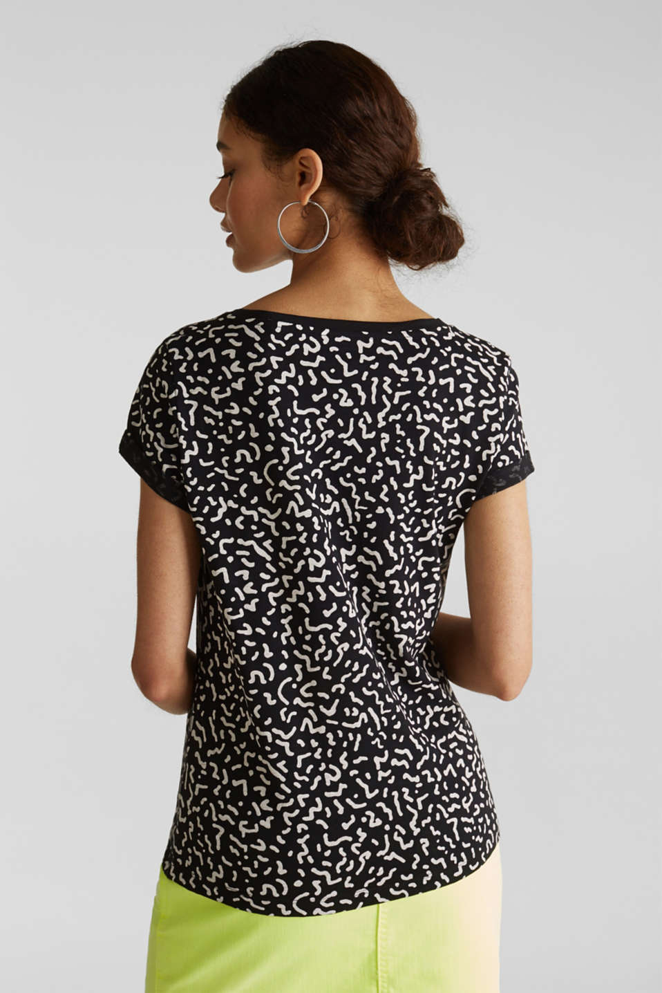 Slub T-shirt with geometric print, 100% cotton, BLACK, detail image number 3