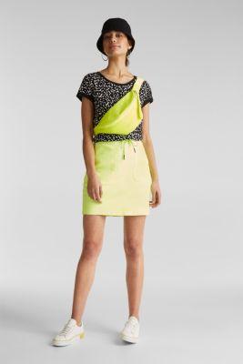 Slub T-shirt with geometric print, 100% cotton, BLACK, detail