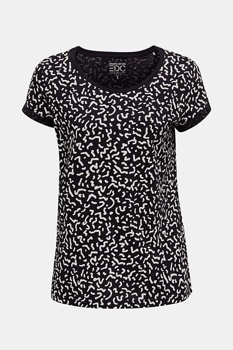 Slub T-shirt with geometric print, 100% cotton