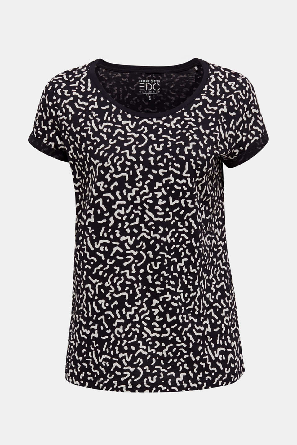 Slub T-shirt with geometric print, 100% cotton, BLACK, detail image number 6
