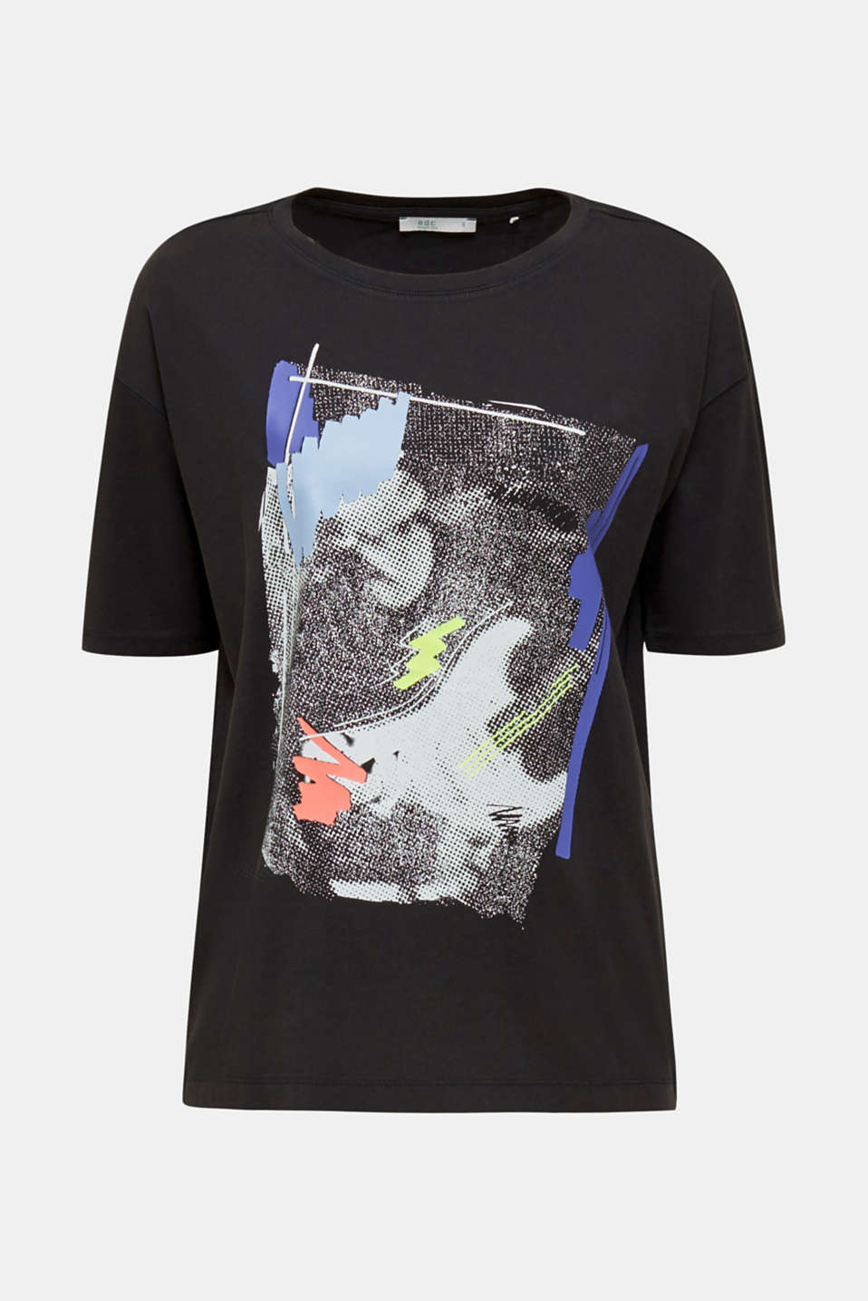 T-shirt with an arty print, 100% cotton, BLACK, detail image number 7