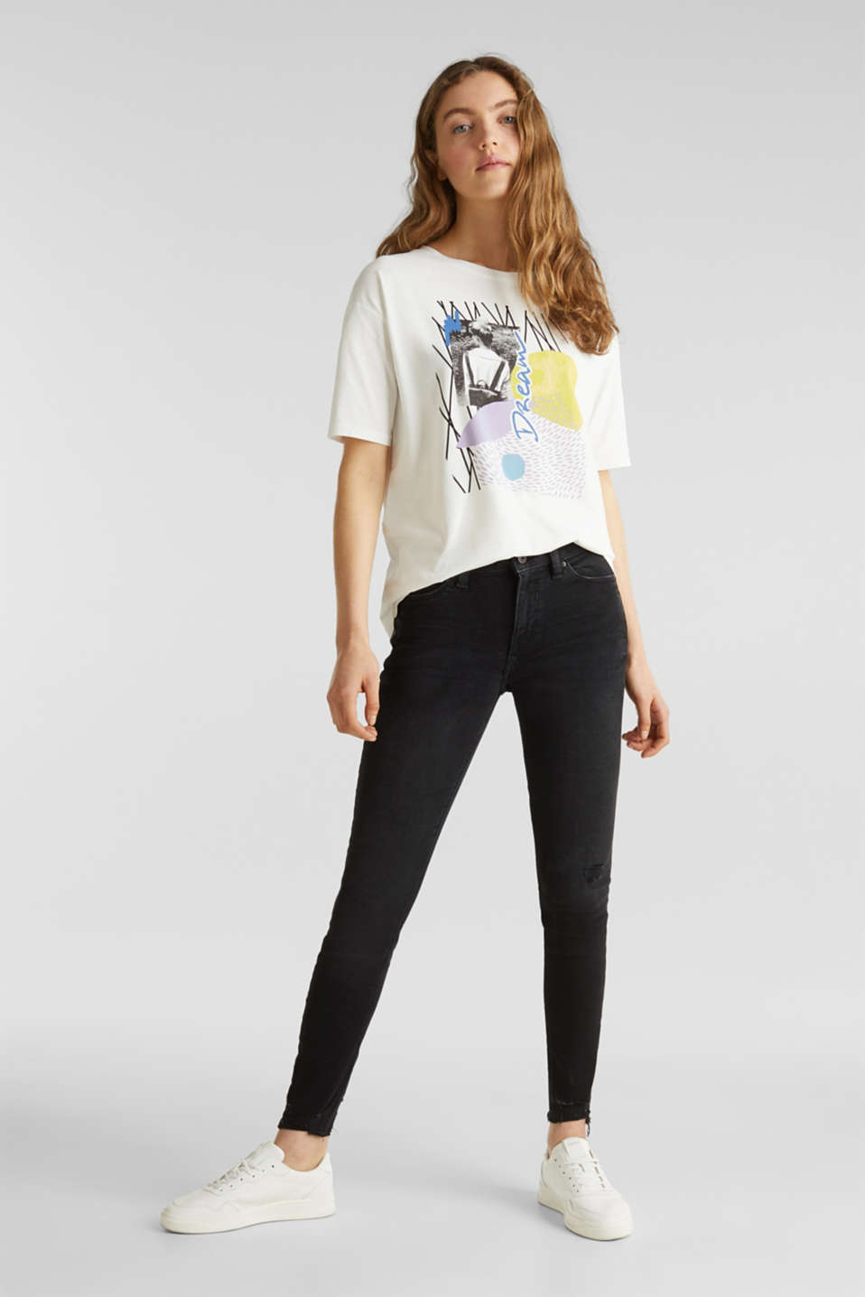 T-shirt with an arty print, 100% cotton, OFF WHITE, detail image number 1