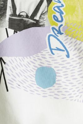 T-shirt with an arty print, 100% cotton, OFF WHITE, detail