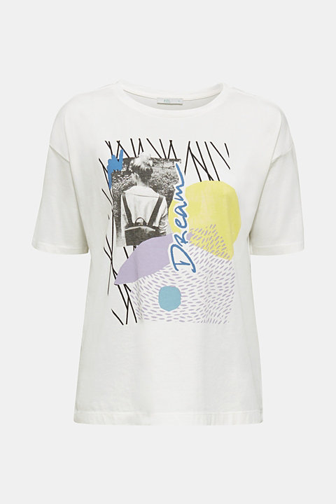 T-shirt with an arty print, 100% cotton