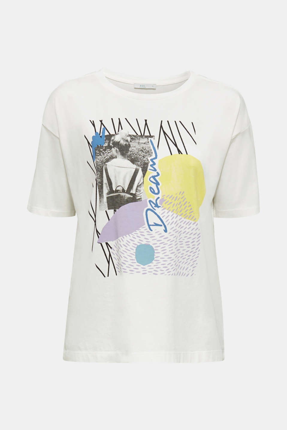 T-shirt with an arty print, 100% cotton, OFF WHITE, detail image number 7