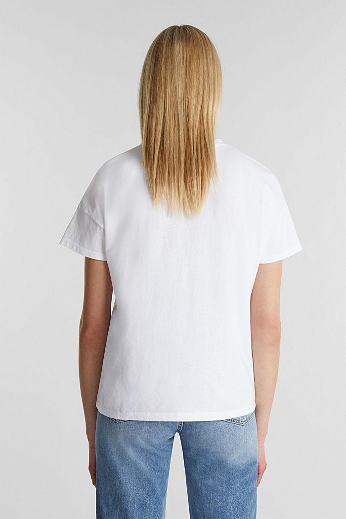 T-shirt met retroprint van 100% katoen, WHITE, detail image number 3