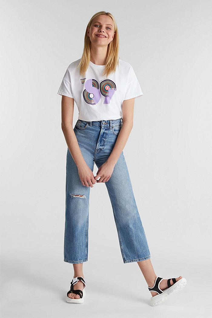 T-shirt met retroprint van 100% katoen, WHITE, detail image number 1