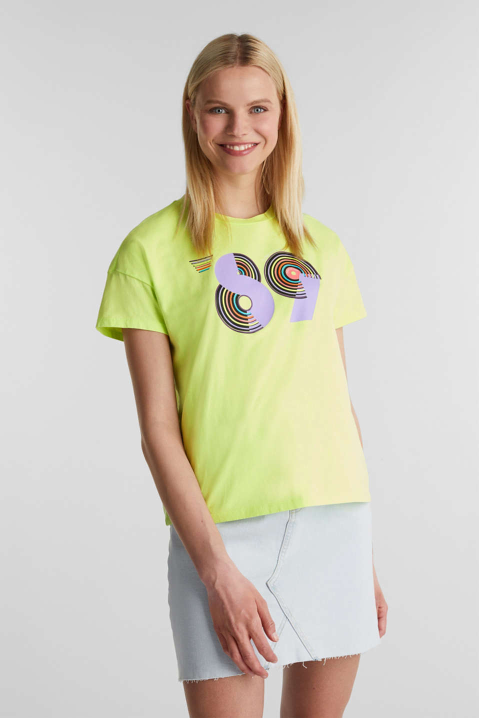 T-shirt with a retro print in 100% cotton, LIME YELLOW, detail image number 0
