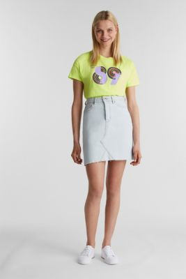 T-shirt with a retro print in 100% cotton, LIME YELLOW, detail