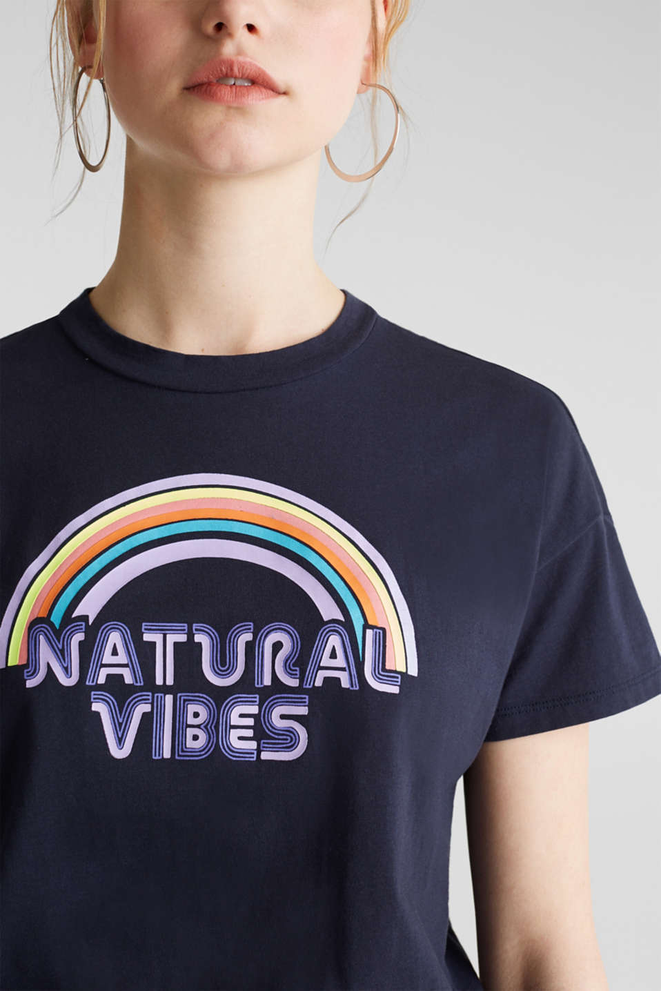 Print T-shirt with organic cotton, NAVY, detail image number 2