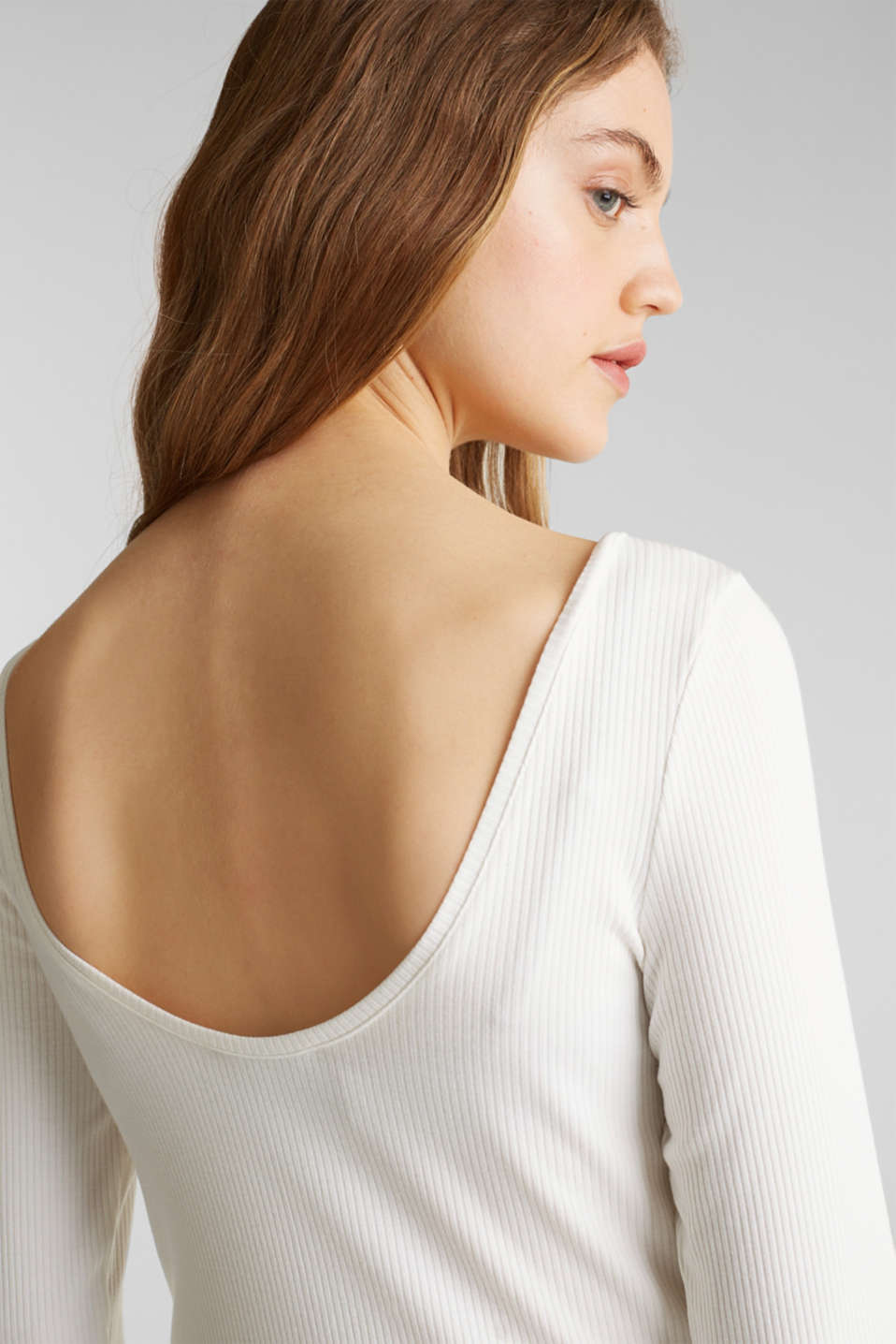 Ribbed top with a back neckline, OFF WHITE, detail image number 2