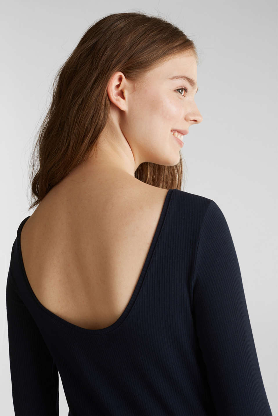 Ribbed top with a back neckline, NAVY, detail image number 5