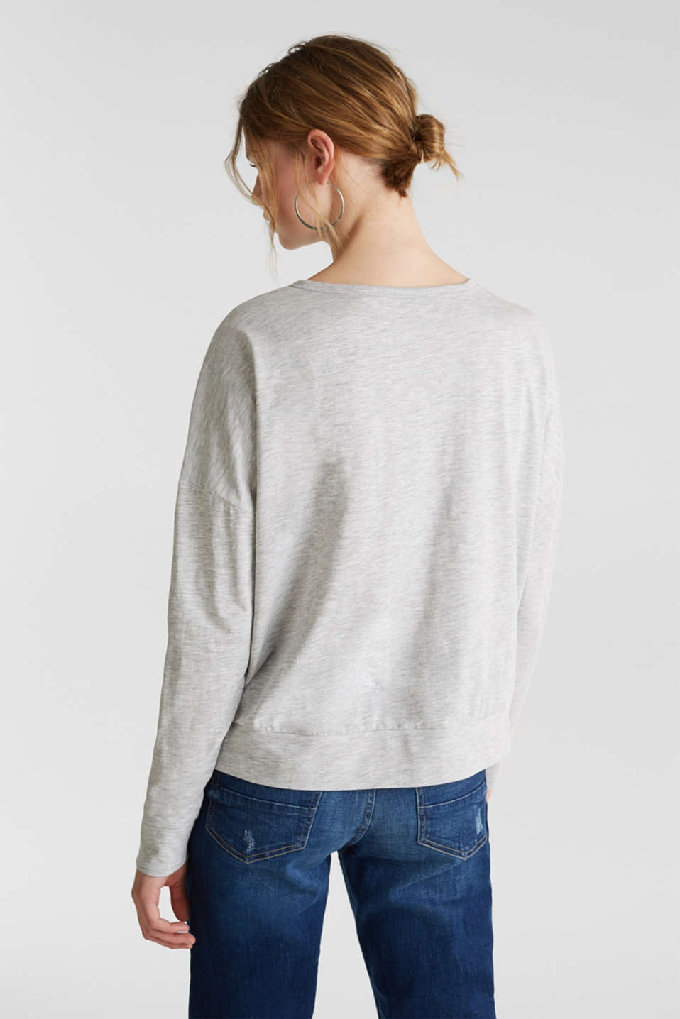 Melange Henley long sleeve top, LIGHT GREY 5, detail image number 3