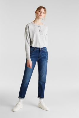Melange Henley long sleeve top, LIGHT GREY 5, detail