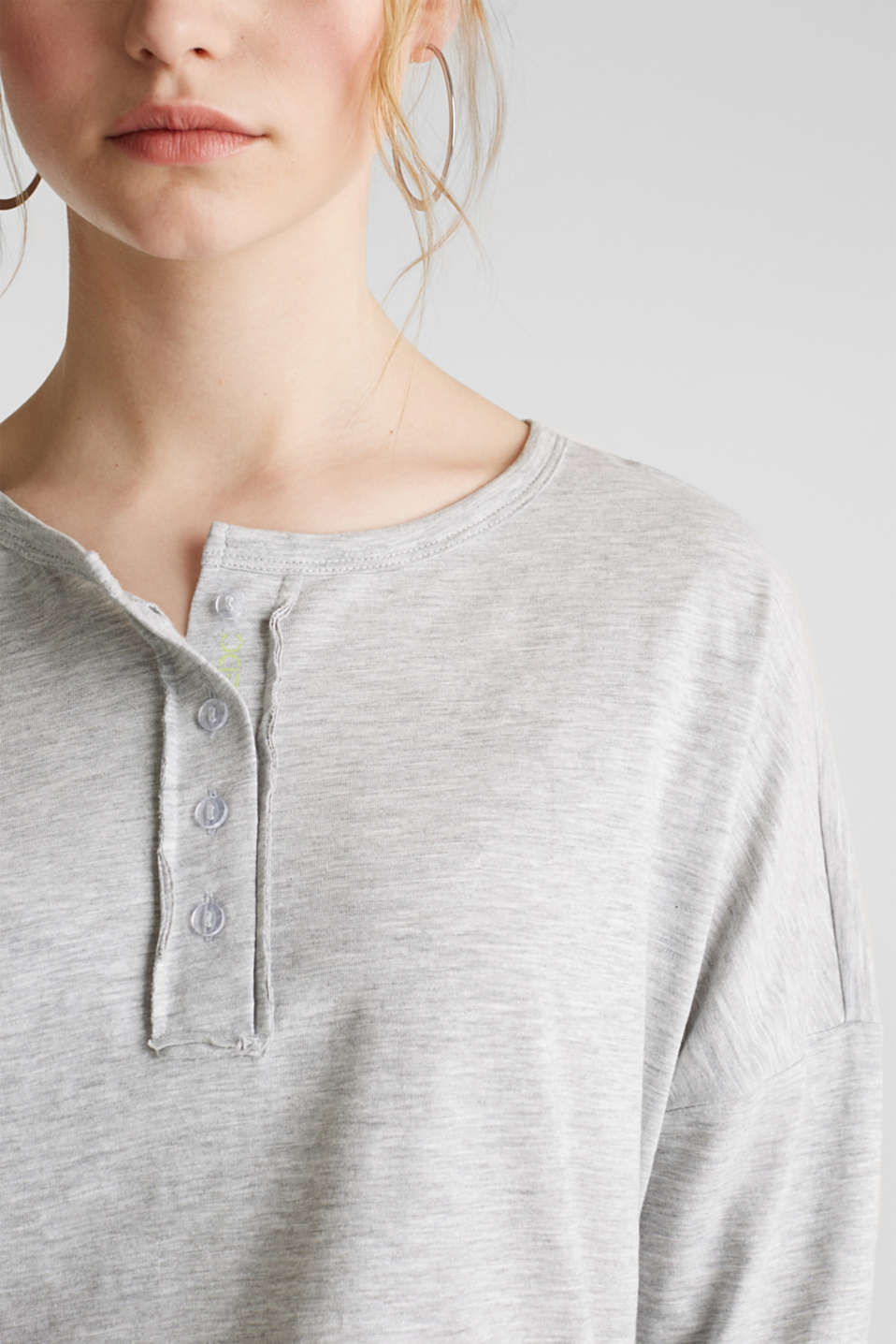 Melange Henley long sleeve top, LIGHT GREY 5, detail image number 2