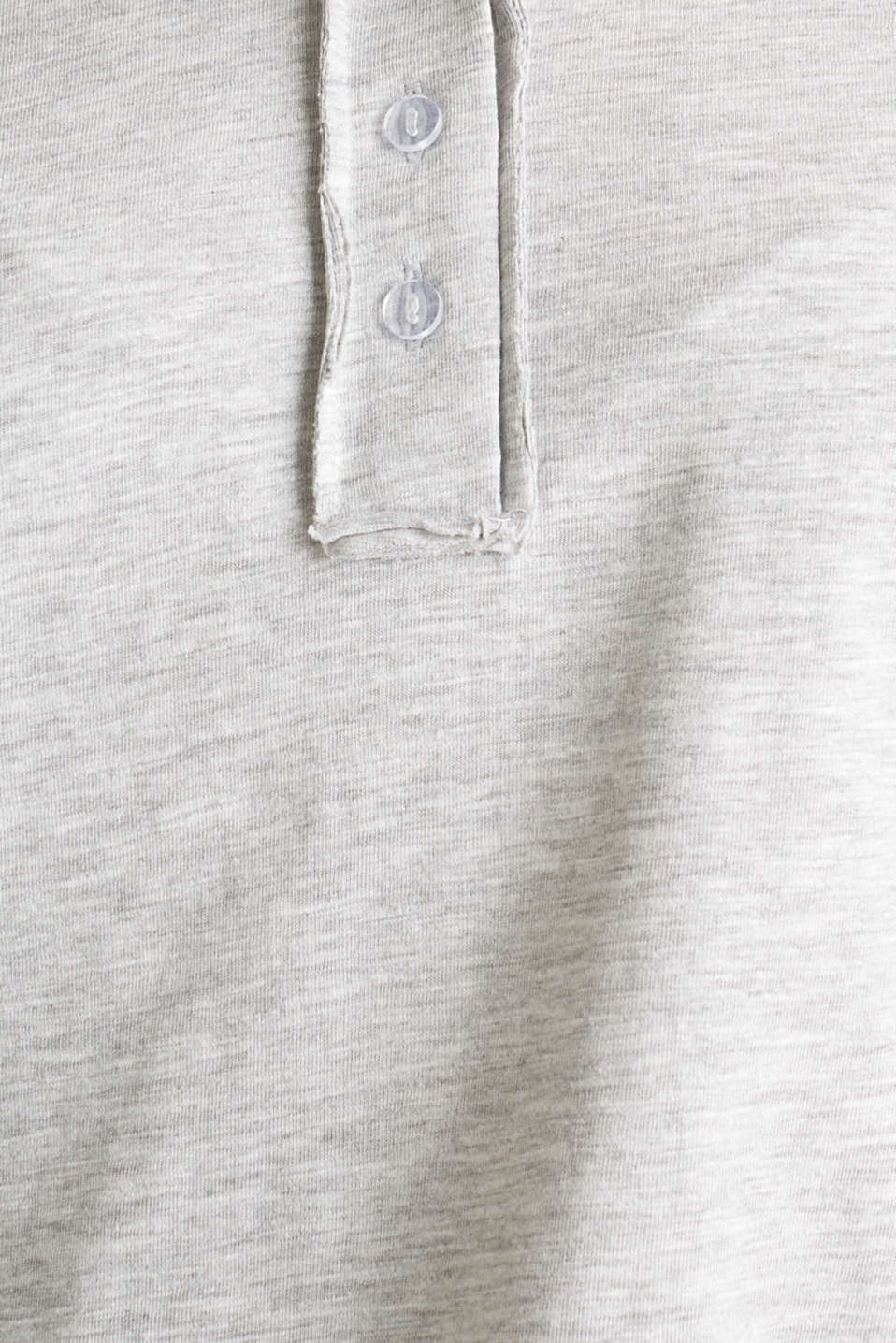 Melange Henley long sleeve top, LIGHT GREY 5, detail image number 4