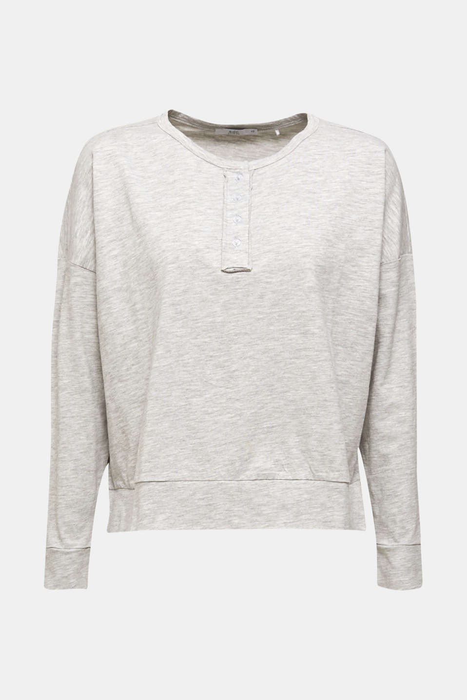 Melange Henley long sleeve top, LIGHT GREY 5, detail image number 6