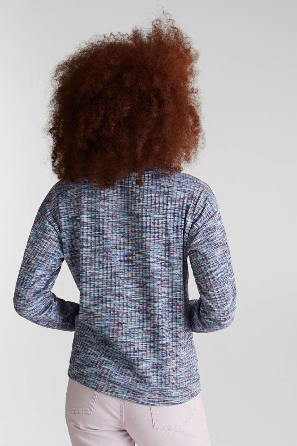 Melange, multi-coloured long sleeve top, BLUE LAVENDER, detail image number 2