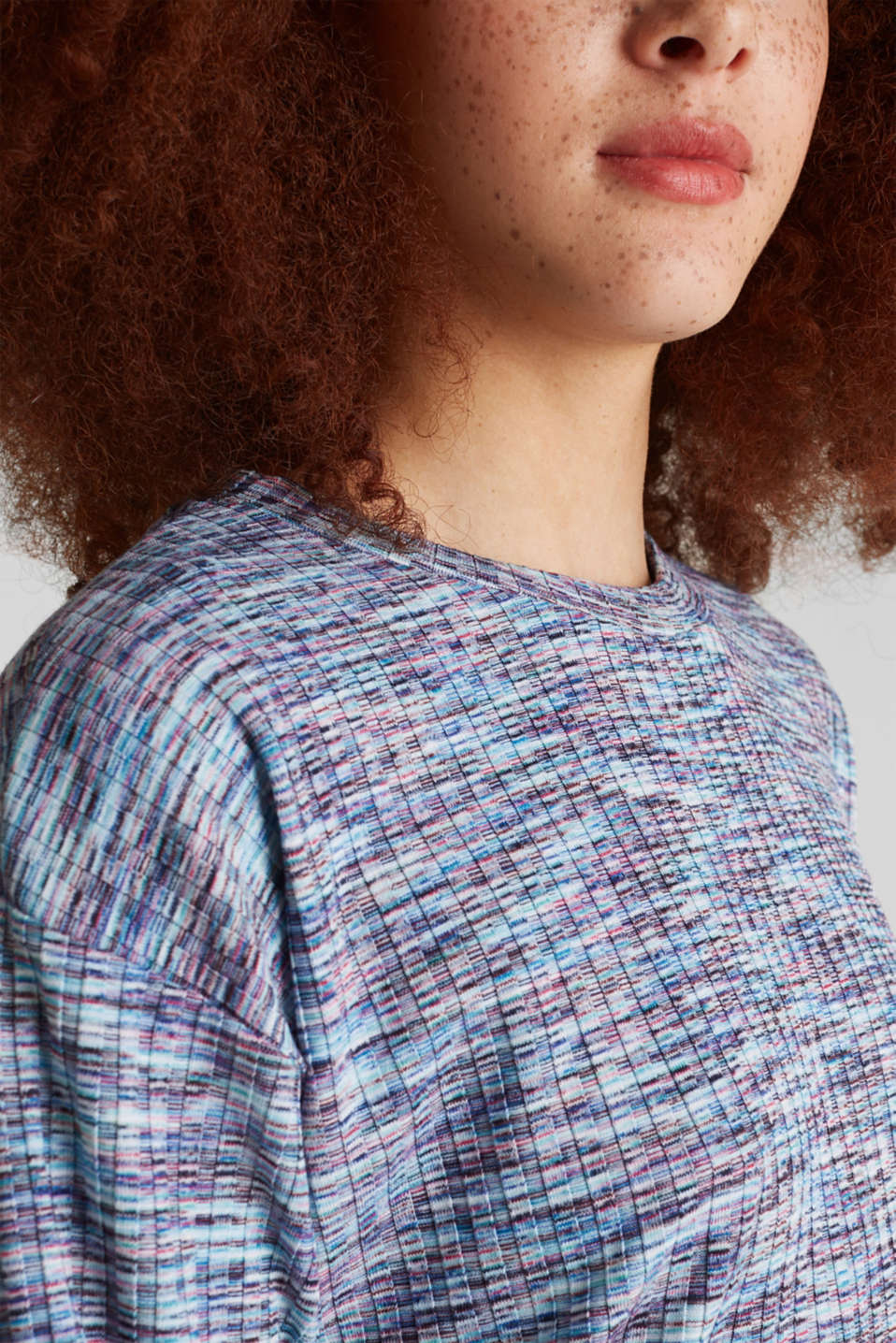Melange, multi-coloured long sleeve top, BLUE LAVENDER, detail image number 1