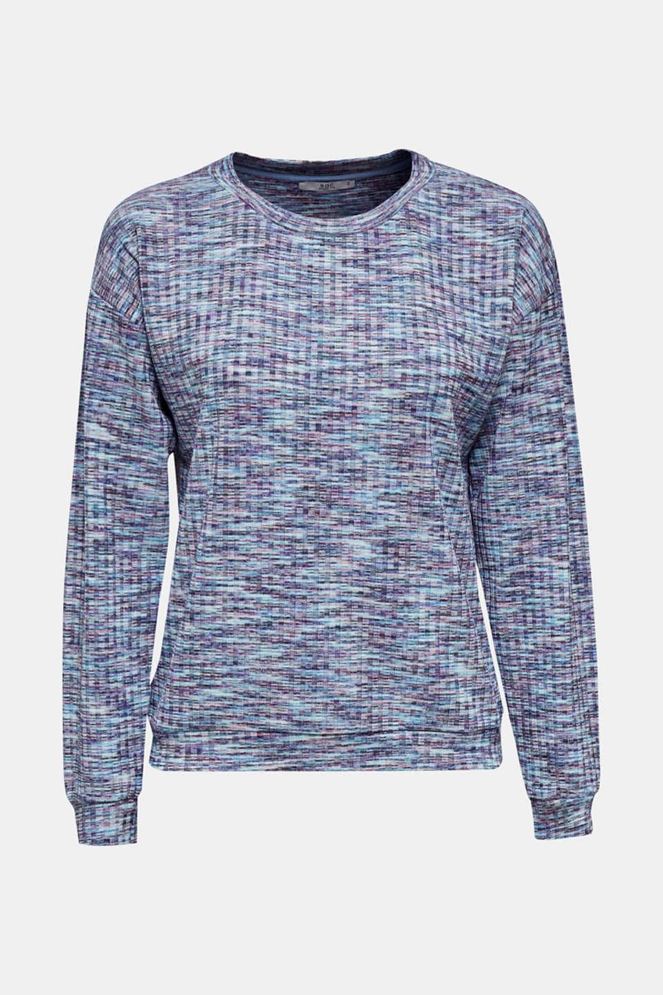 Melange, multi-coloured long sleeve top, BLUE LAVENDER, detail image number 5