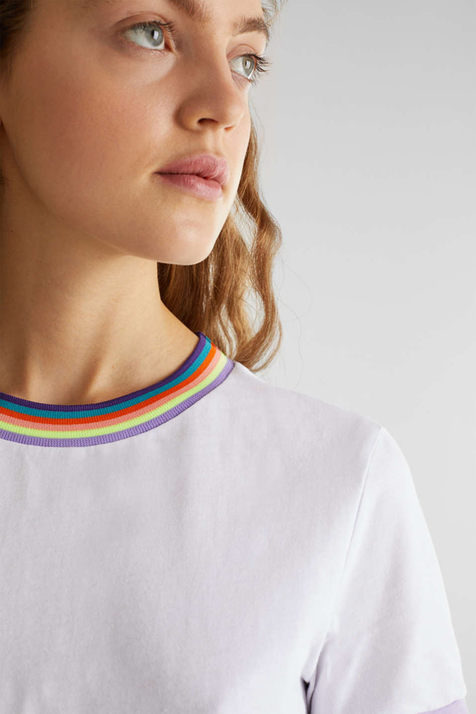 100% cotton top with multi-coloured borders, WHITE, detail image number 2