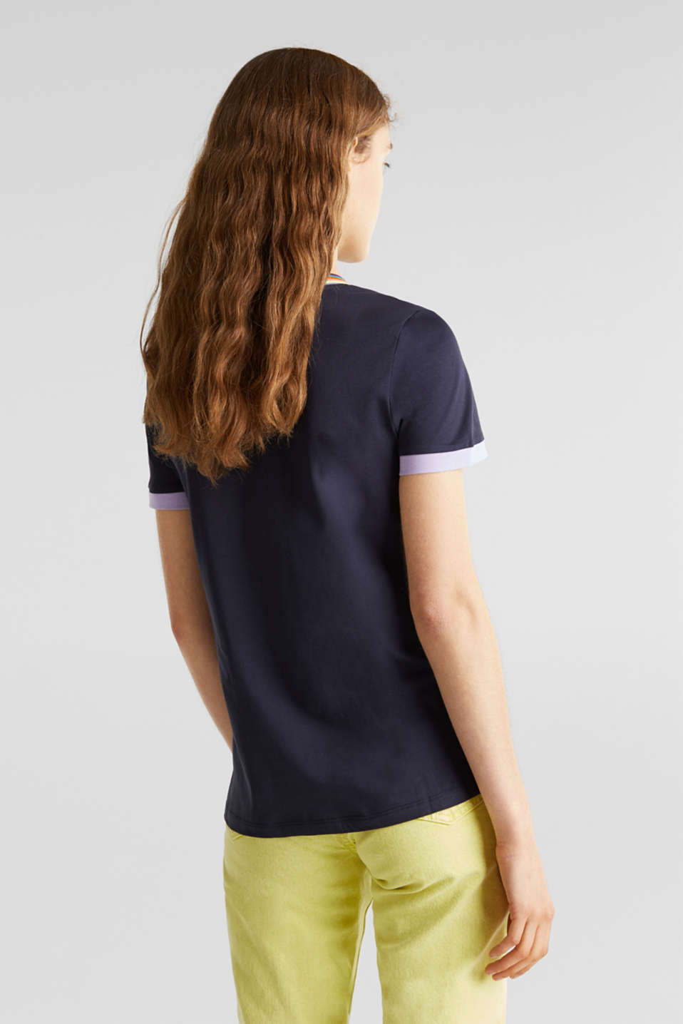 100% cotton top with multi-coloured borders, NAVY, detail image number 3