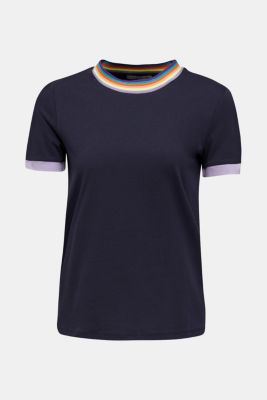 100% cotton top with multi-coloured borders, NAVY, detail