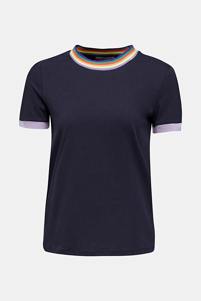 Shirt mit Multicolor-Bündchen, 100% Baumwolle, NAVY, detail image number 0