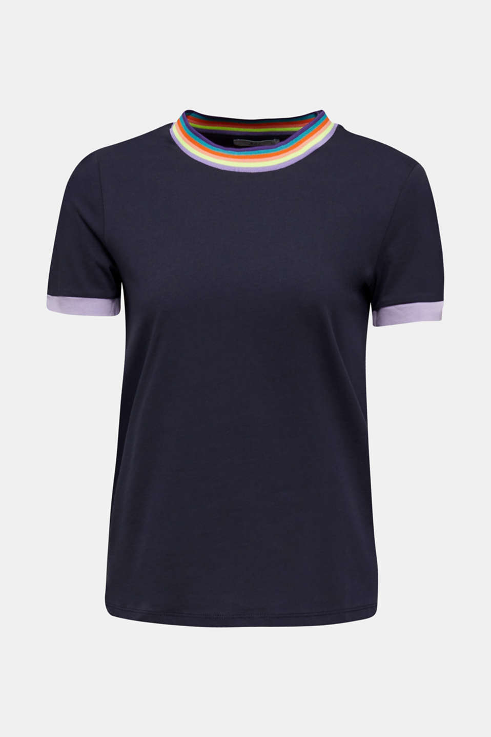 100% cotton top with multi-coloured borders, NAVY, detail image number 6