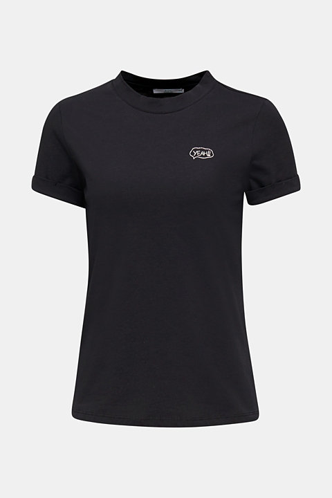 T-shirt with an embroidered motif, 100% cotton