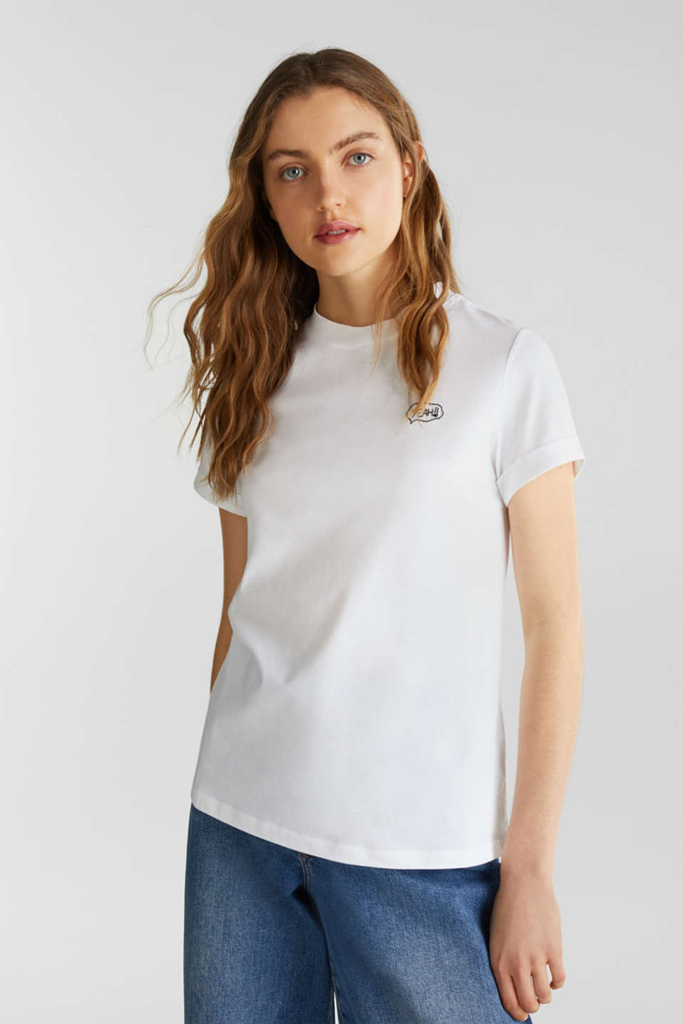 Embroidered top, 100% cotton, WHITE, detail image number 0