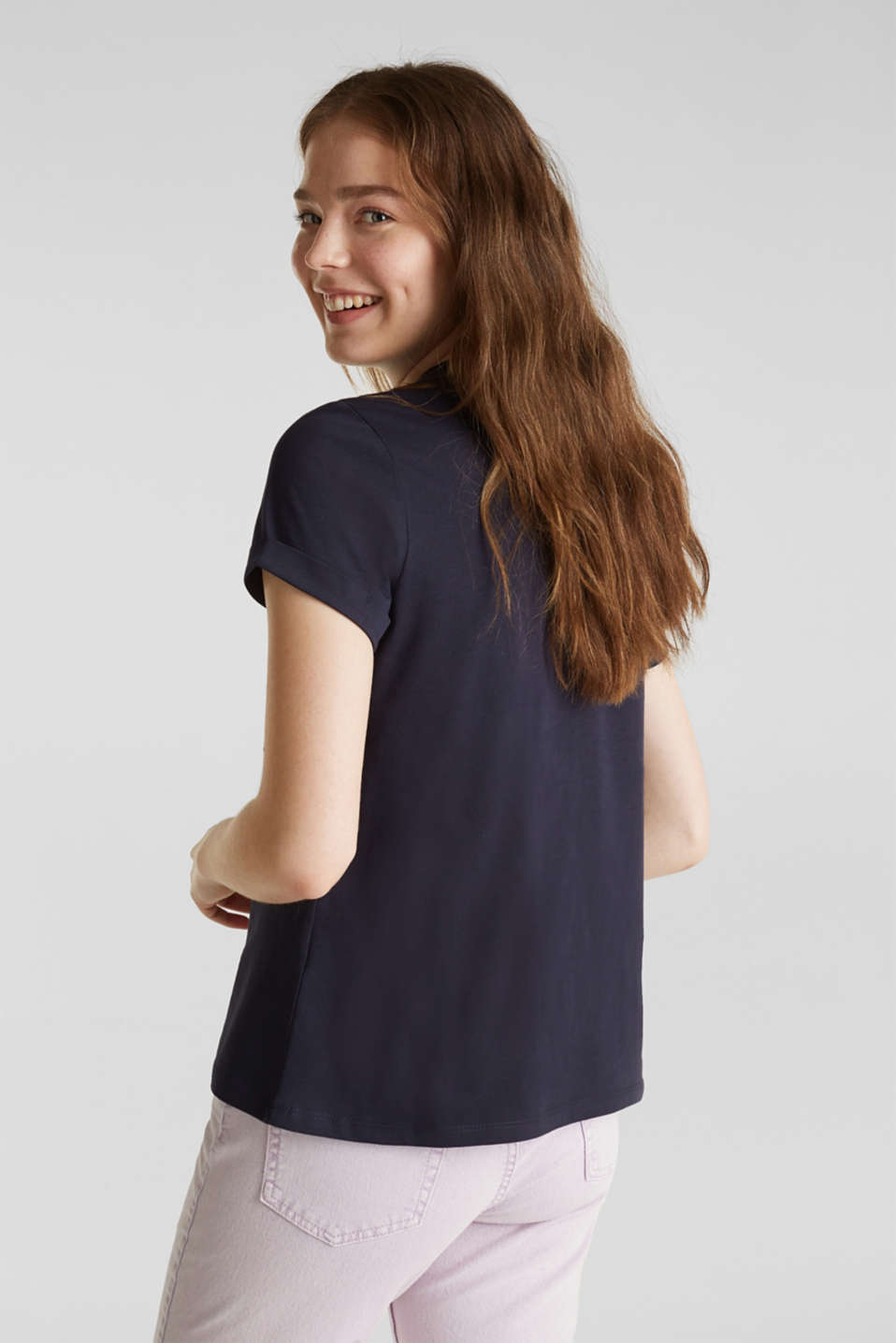 Embroidered top, 100% cotton, NAVY, detail image number 3