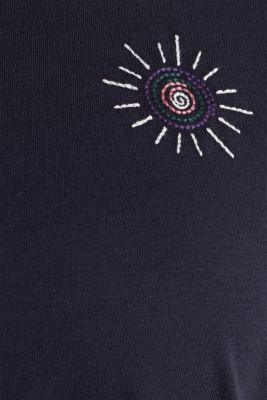 Embroidered top, 100% cotton, NAVY, detail