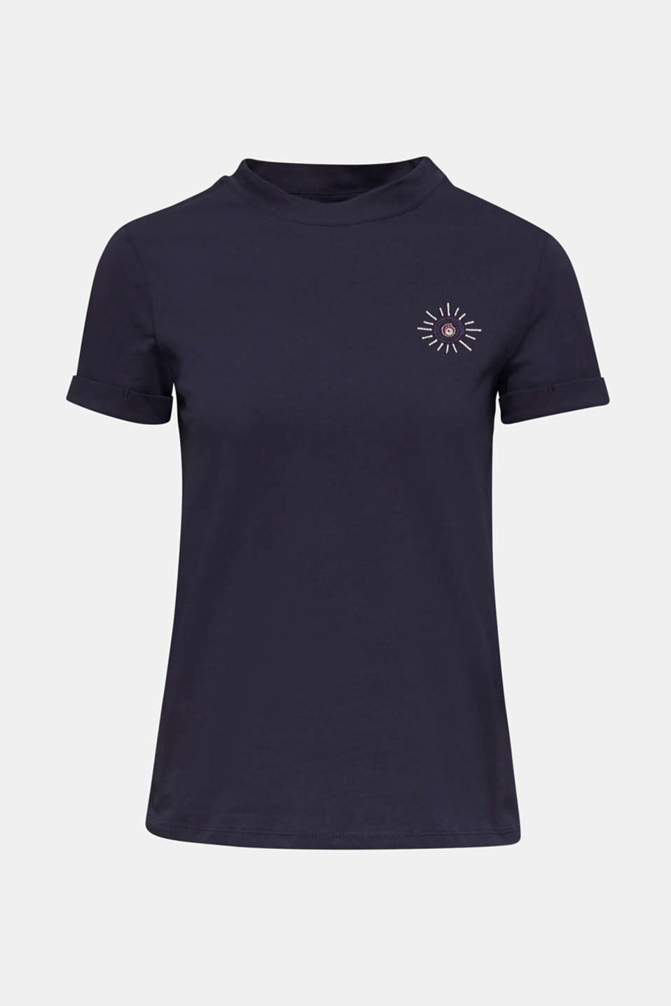 Embroidered top, 100% cotton, NAVY, detail image number 6