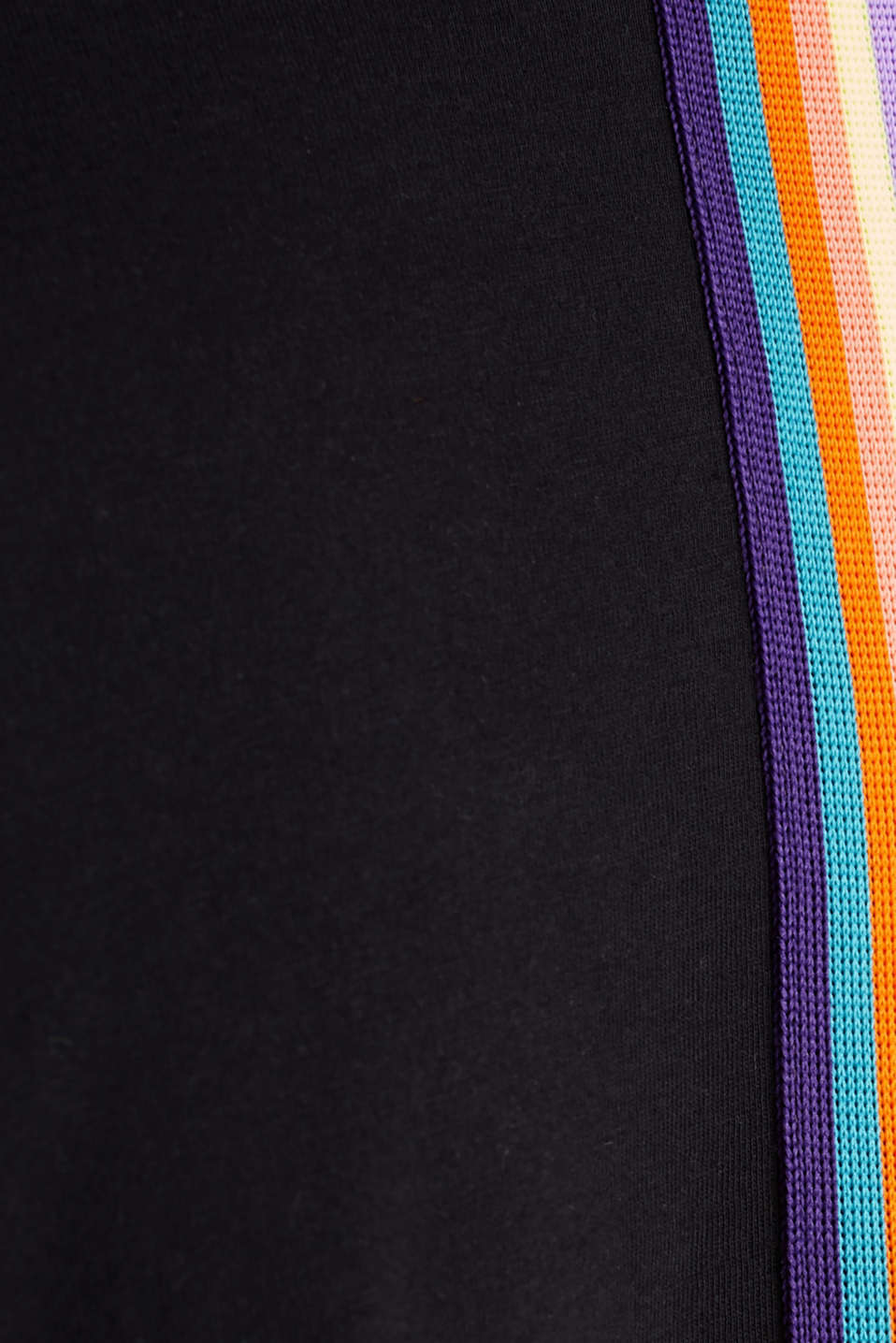 Top with colourful striped tape, 100% cotton, BLACK, detail image number 3