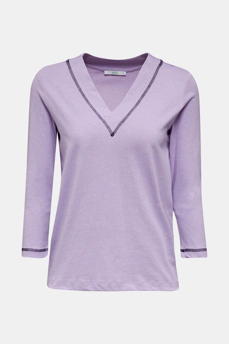 V-neck T-shirt, LILAC, detail image number 6