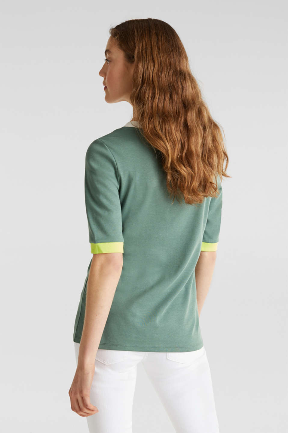 100% cotton T-shirt with contrasting trims, KHAKI GREEN, detail image number 3