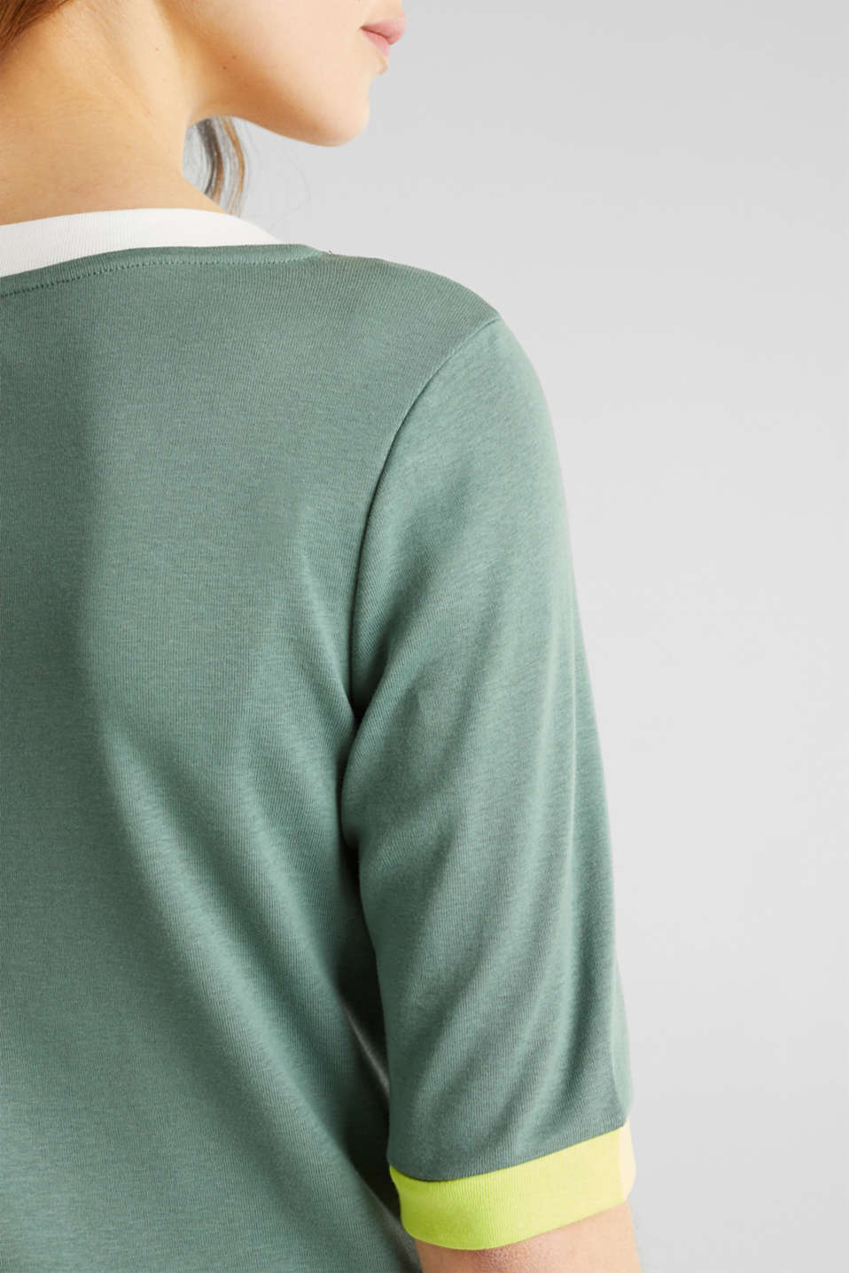 100% cotton T-shirt with contrasting trims, KHAKI GREEN, detail image number 5