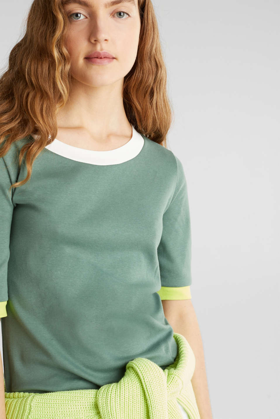 100% cotton T-shirt with contrasting trims, KHAKI GREEN, detail image number 6