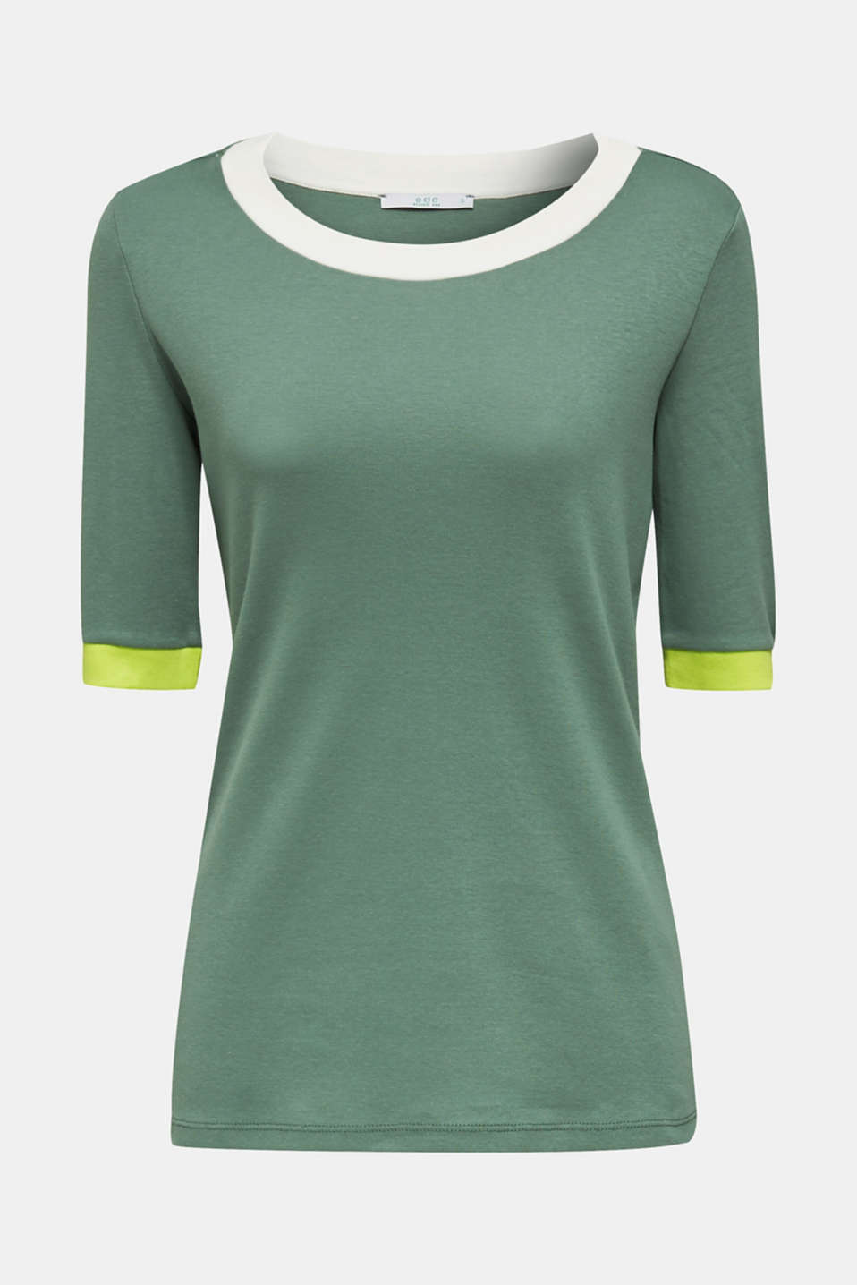 100% cotton T-shirt with contrasting trims, KHAKI GREEN, detail image number 7