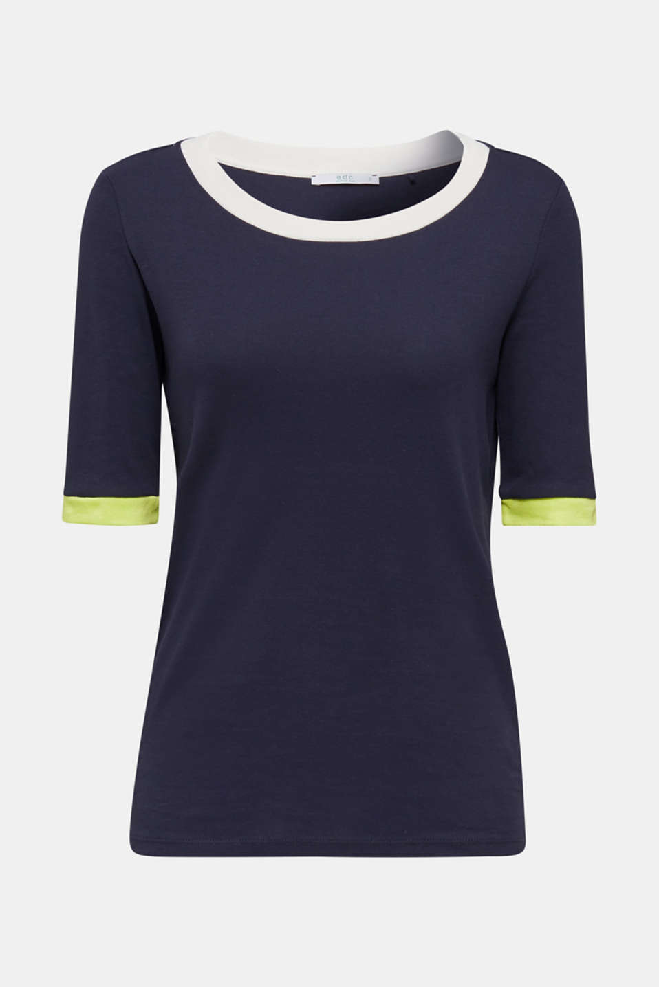 100% cotton T-shirt with contrasting trims, NAVY, detail image number 6