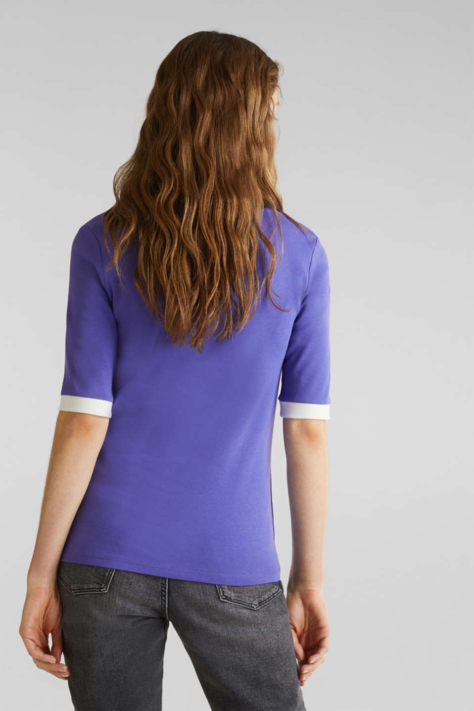 100% cotton T-shirt with contrasting trims, DARK LAVENDER, detail image number 3