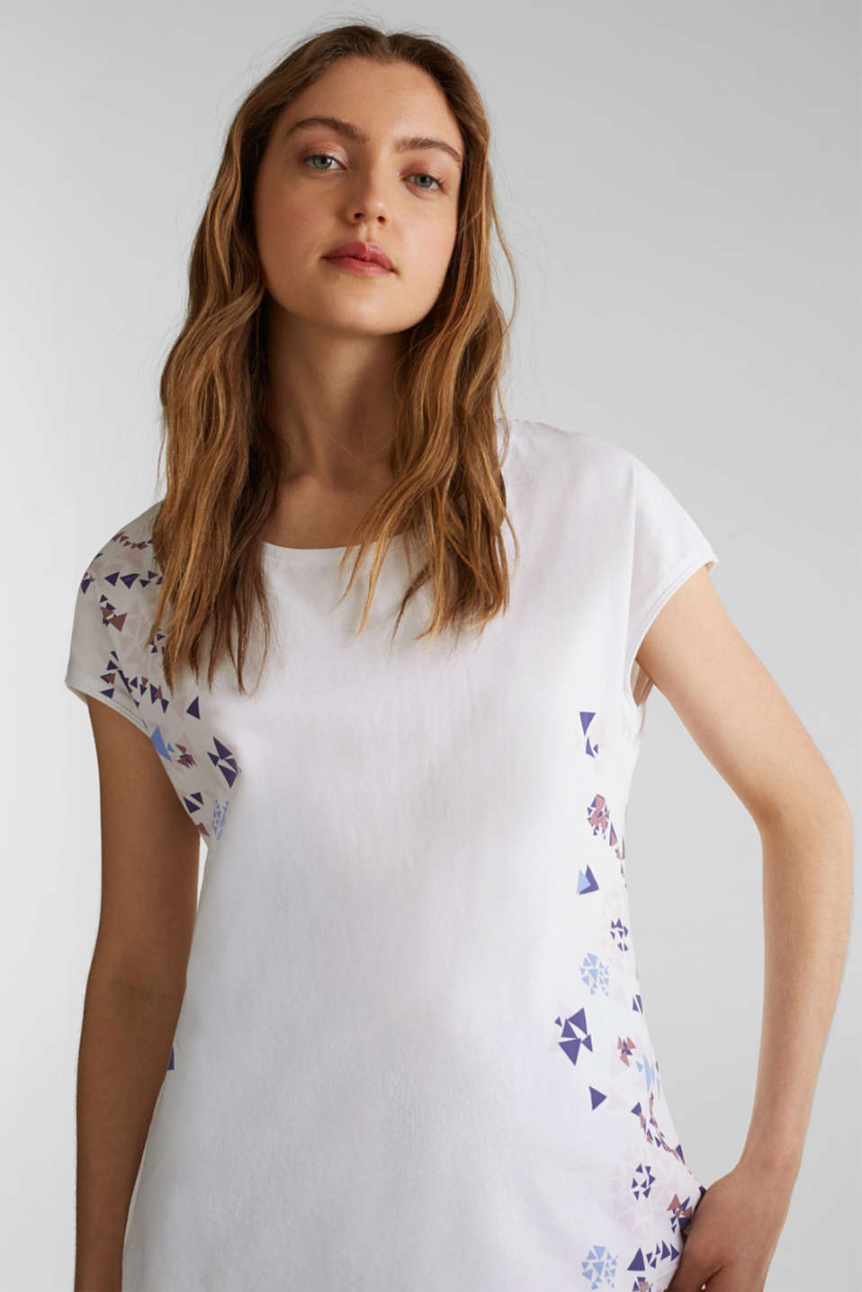 T-shirt with geometric print, 100% cotton, WHITE, detail image number 0